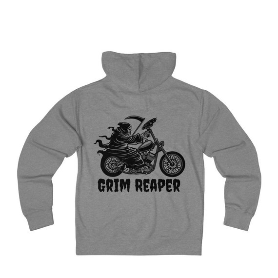 Grim Rider, Unisex French Terry Zip Hoodie, Vintage Inspired Grim Reaper Riding Motorcycle