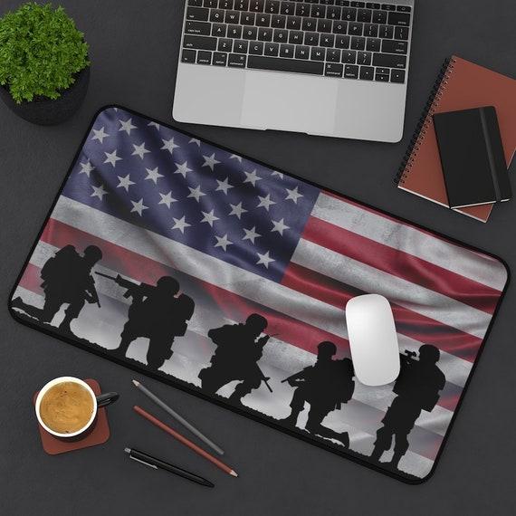 American Soldiers Desk Mat, Patriotic, Patriotism, Military, American Flag