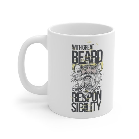 With Great Beard Comes Great Responsibility - White Ceramic Mug - Vintage Inspired Image Of Norse God Odin.