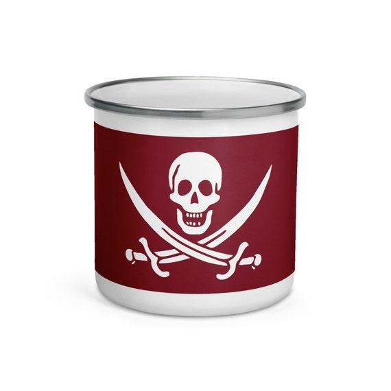 Blood Red Jolly Roger, Enamel Mug, Camp Mug, Pirate Flag, Outdoor, Coffee, Tea