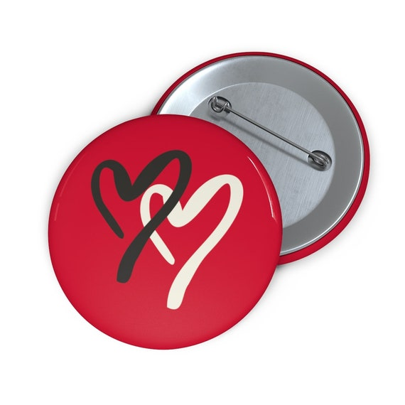"Two Hearts 2"" Pin Button, Valentines Day"
