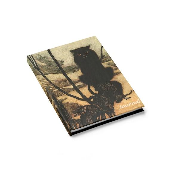Black Cat Grimoire, Hardcover Journal, Ruled Line, Halloween, Vintage Illustration, Arthur Rackham, 1920