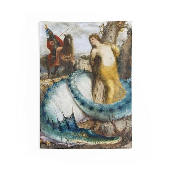 "Blue Dragon, 26""x36"" Indoor Wall Tapestry, Vintage Painting, Arnold Bocklin, 1873, Wall Decor, Room Decor"