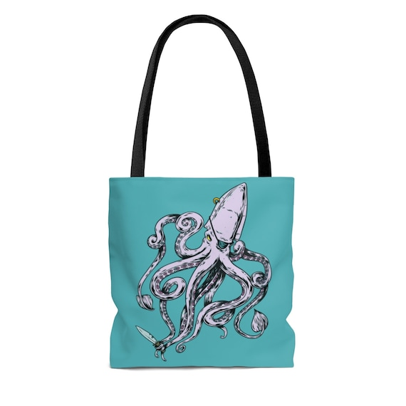 Pirate Octopus, Square Tote Bag, Eye Patch, Gold Earring, Knife