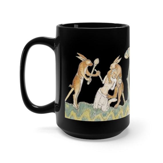 Medieval Rabbit Captures Man Black 15oz Ceramic Mug, From Medieval Manuscript, Marginalia, Coffee, Tea