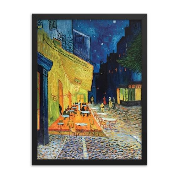 "Cafe Terrace At Night, 18""x24"" Framed Giclée Poster, Black Wood Frame, Acrylic Covering, Vincent Van Gogh, Room Decor"