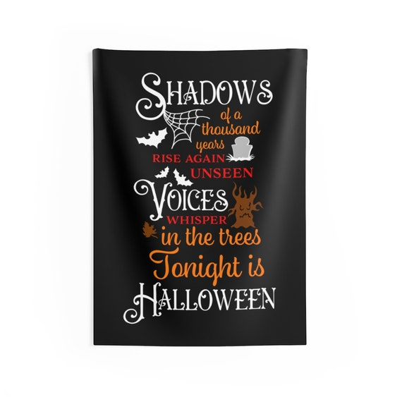 Shadows Of A Thousand Years, Indoor Wall Tapestry, Halloween Sign, Bats, Gravestone, Haunted Tree, Wall Decor, Room Decor