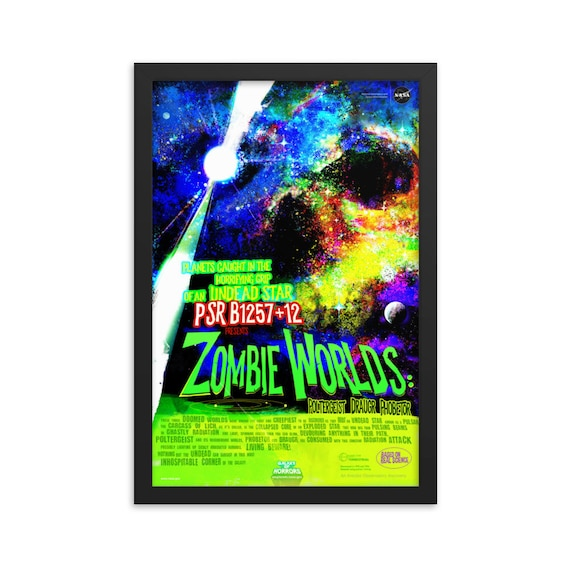 """Zombie Worlds, 12"""" x18"""" Framed Poster, Black Wood Frame, Acrylic Covering, Fake Vintage/Retro Style NASA Movie Poster, Room Decor"""