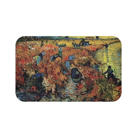 Red Vineyard, Microfiber Bath Mat, Vintage Painting, Van Gogh 1888