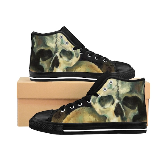 Skull, Men's High-top Sneakers, Vintage Painting, Cezanne 1900