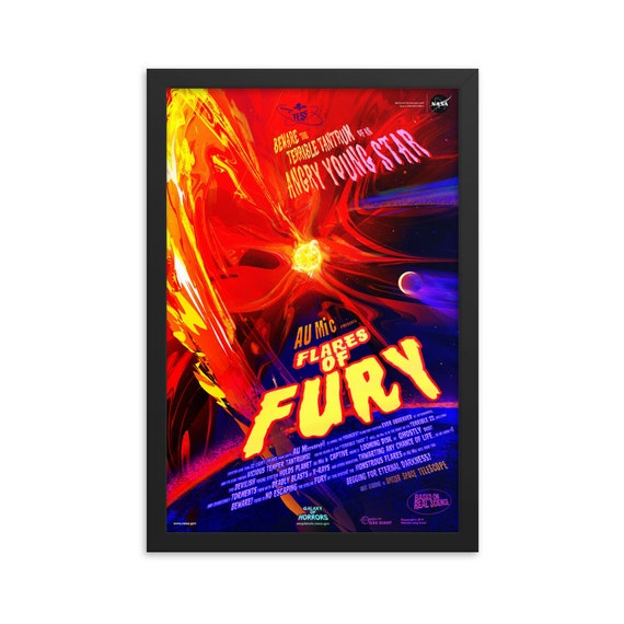 """Flares Of Fury, 12"""" x18"""" Framed Poster, Black Wood Frame, Acrylic Covering, Fake Vintage/Retro Style NASA Movie Poster, Room Decor"""