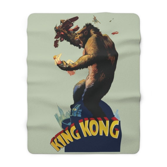 "King Kong, 60""x80"" Sherpa Fleece Blanket, Vintage 1933 Movie Poster"