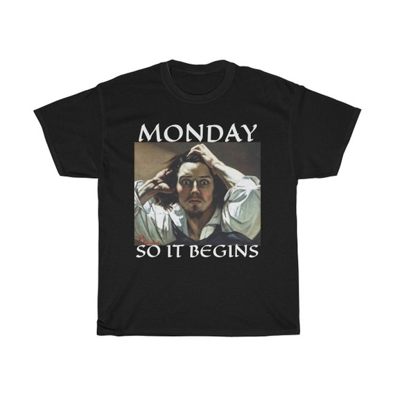 Monday So It Begins, Unisex Heavy Cotton Tee, Vintage Painting, Gustave Courbet, 1845