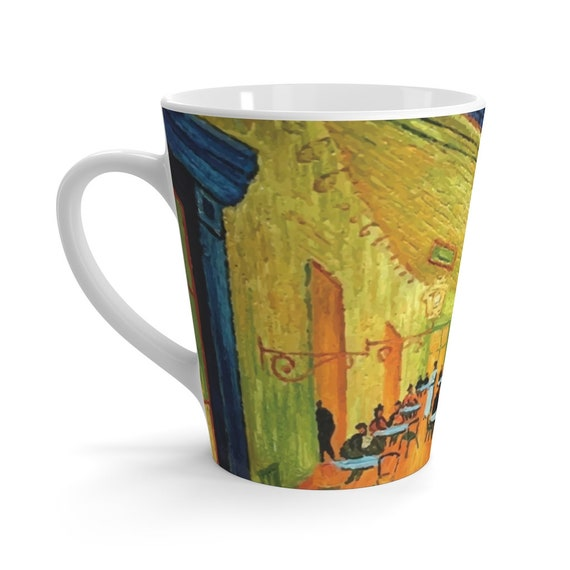 Cafe Terrace At Night Latte Mug, Vincent Van Gogh, Coffee, Tea