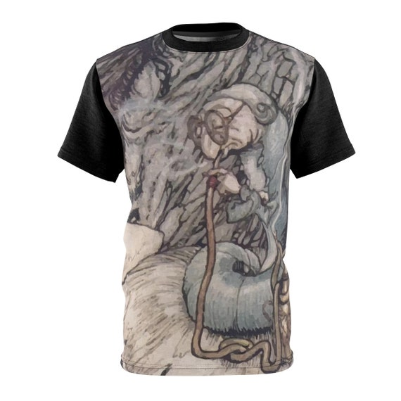 The Hookah Smoking Caterpillar, Unisex T-shirt, Vintage Illustration, Arthur Rackham, 1907, AOP
