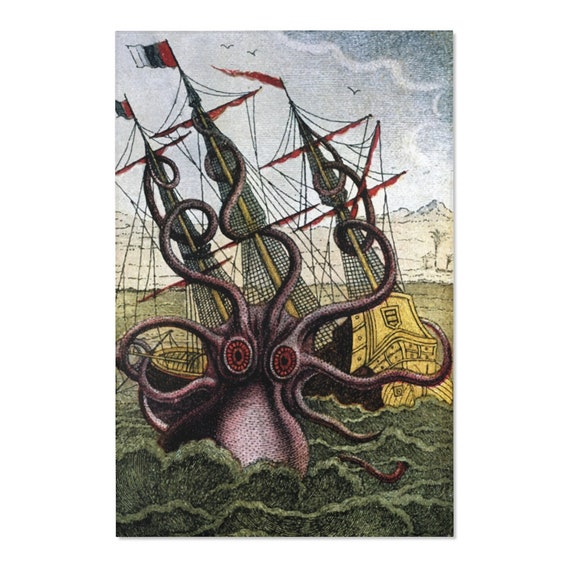 Kraken Attacks Ship Off Egypt, 2'x3' Door Mat & 4'x6' Area Rug Sizes, Antique Illustration, Pierre Denys de Montfort, 1801