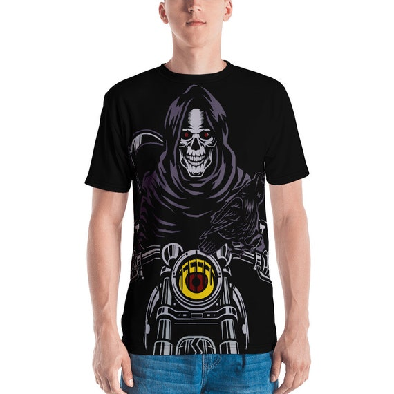 Death Rides A Pale Bike, Unisex Jersey T-shirt, Vintage Inspired Image, Death, Grim Reaper, Black Cowl, Motorcycle, Raven, Scythe
