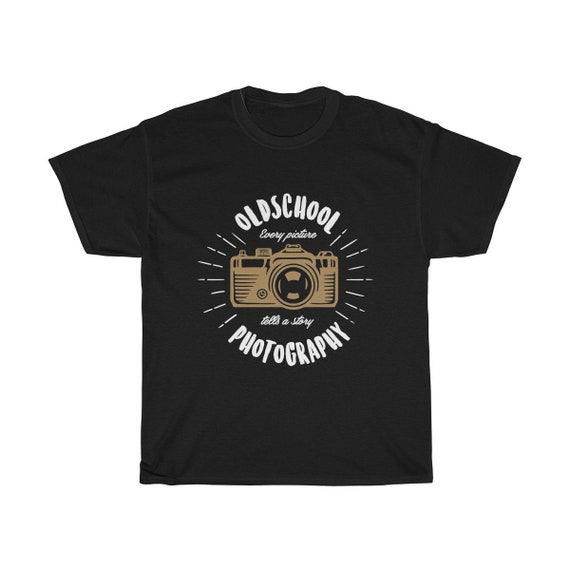 Retro Camera - Unisex Heavy Cotton Tee With Vintage Inspired Image Of An Old Manual Camera.