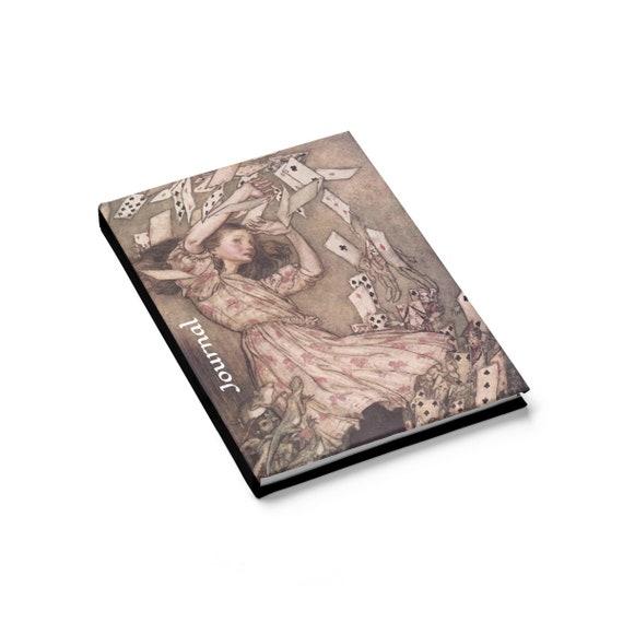 Alice Overwhelmed By The Cards, Hardcover Journal, Ruled Line, Vintage Illustrations, Arthur Rackham, 1907
