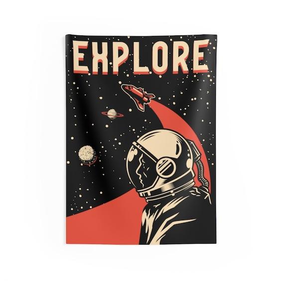 """Explore, 26""""x36"""" Indoor Wall Tapestry, Vintage Retro design, Space Fan, NASA Fan, Room Decor"""