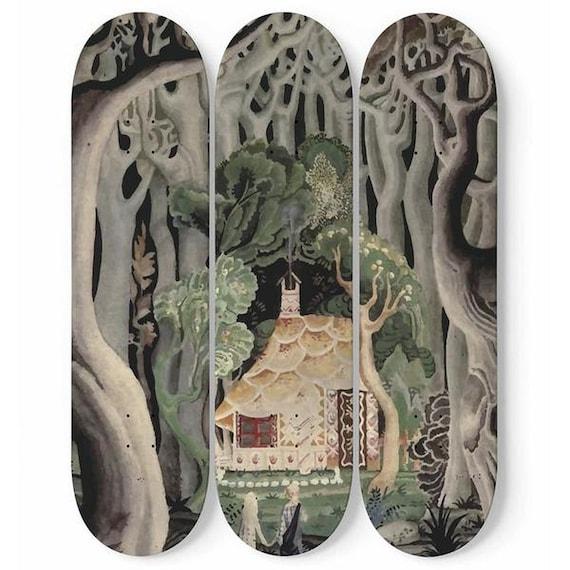 Gingerbread House, Skateboard Art, 3 Maple Decks, Vintage, Art Deco, Antique Watercolor, Hansel & Gretel. 1921