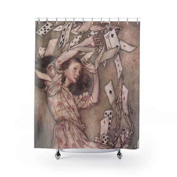 Alice Overwhelmed By The Cards, Shower Curtain, Vintage Illustrations, Arthur Rackham, 1907