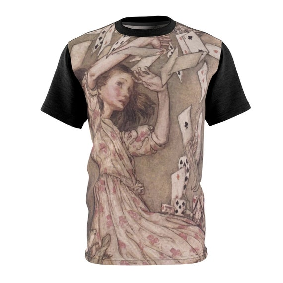 Alice Overwhelmed By The Cards, Unisex T-shirt, Vintage Illustrations, Arthur Rackham, 1907, AOP