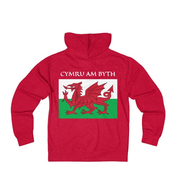 Cymru Am Byth, Unisex French Terry Zip Hoodie, 8 Colors, Red Dragon, Flag Of Wales, Welsh Motto, Welsh Pride