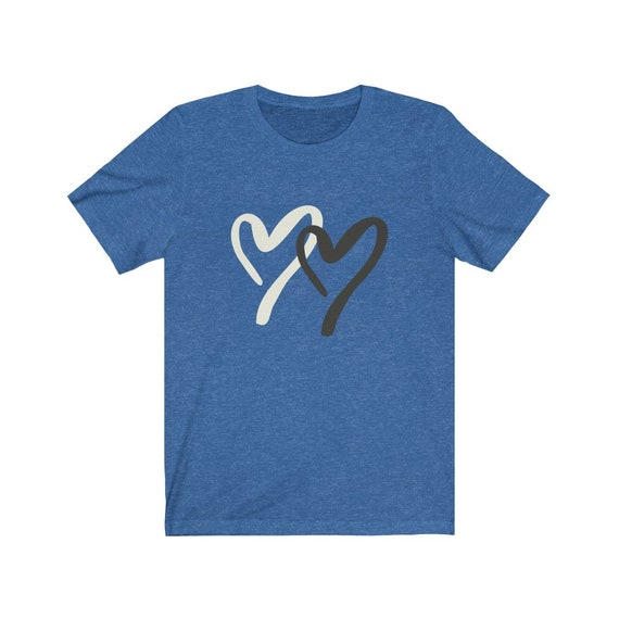 Two Hearts Heather Bella+Canvas Soft T-shirt, Valentines Day