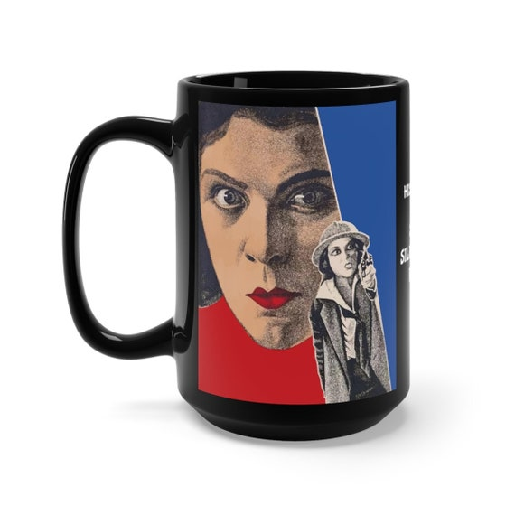 His Career, Black 15oz Ceramic Mug, 1928 Soviet Silent Film Poster