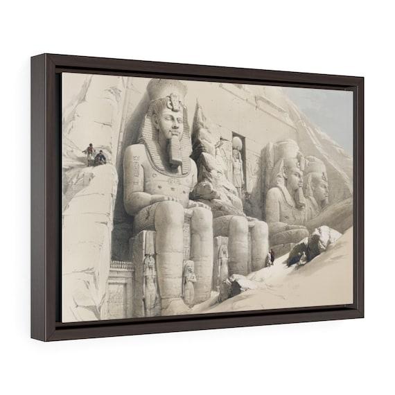 "Abu Simbel Temple, 18""x12"" Framed Gallery Wrap Canvas, 19th Illustration, Egypt"