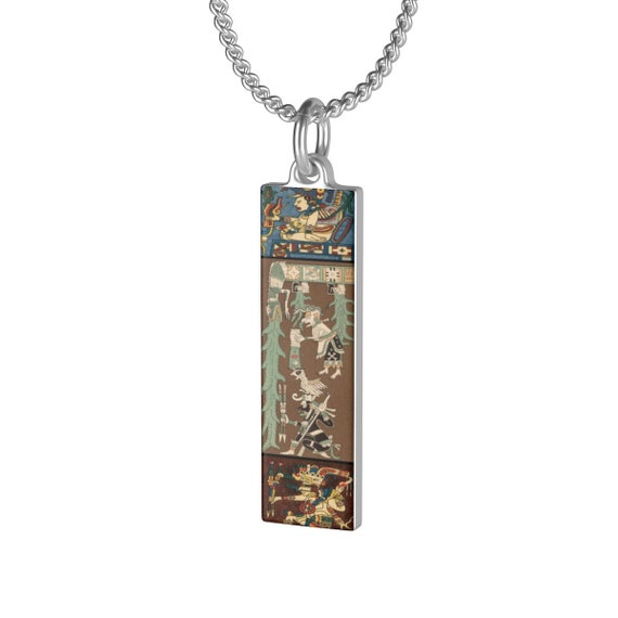 Dresden Codex Scenes, Sterling Silver Necklace, Mayan Glyphs