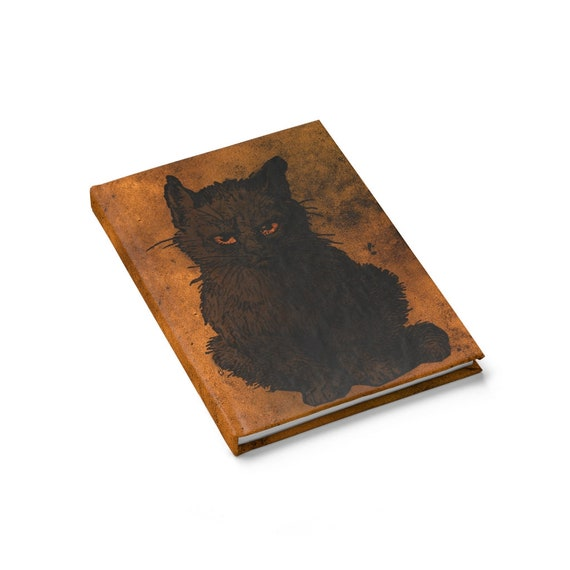 Witches Familiar, Hardcover Journal, Ruled Line, Black Cat, Halloween, All Hallows Eve, Witchcraft, Notebook