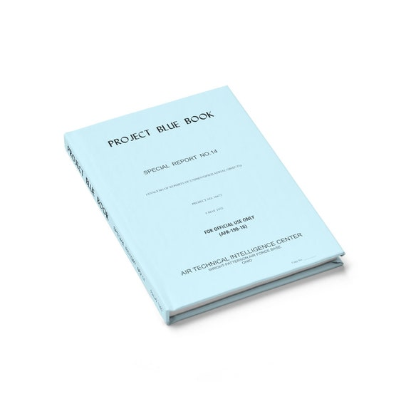Project Blue Book, Hardcover Journal, Ruled Line, Cosplay, UFO, USAF, United States Air Force