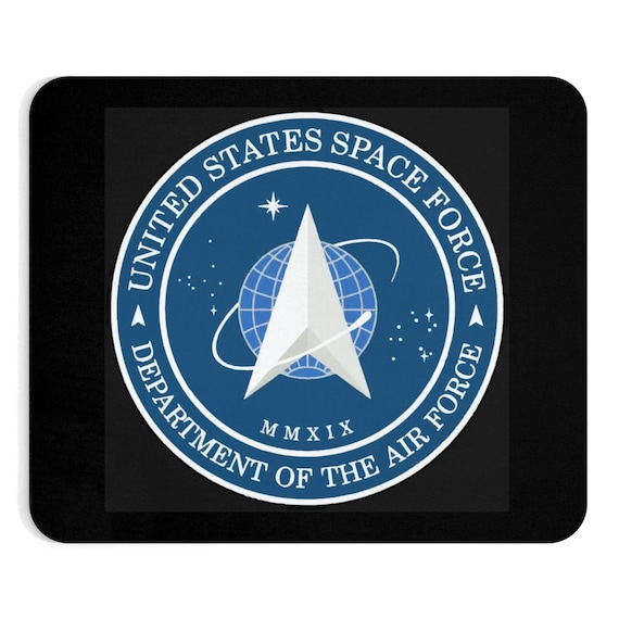 Space Force Insignia Logo, Black Mouse Pad, From Official USSF Seal, Military