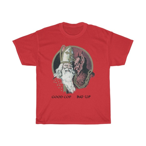 Good Cop, Bad Cop, Unisex Heavy Cotton T-shirt, Santa Claus, Krampus, St. Nicholas, Humorous, Funny