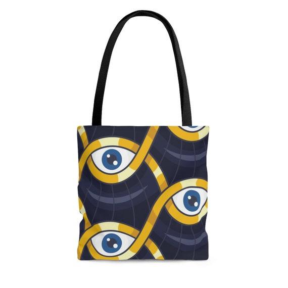 Evil Eye Protection Square Tote Bag, Vintage Inspired Design