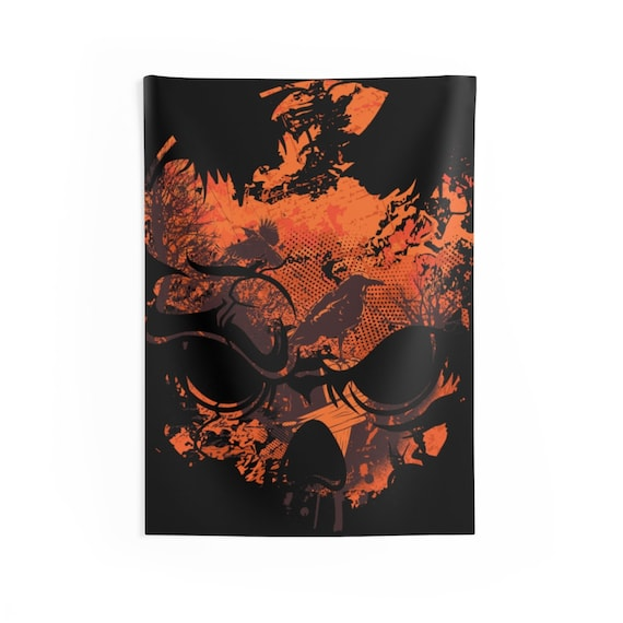 """All Hallows Skull, 26""""x36"""" Indoor Wall Tapestry, Halloween Sign, Raven, Cementery, Wall Decor, Room Decor"""