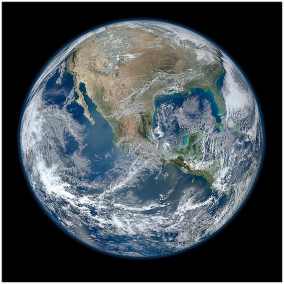 "Blue Marble North America, 24""x24"" Metal Print, NASA Composite Image, Room Decor"