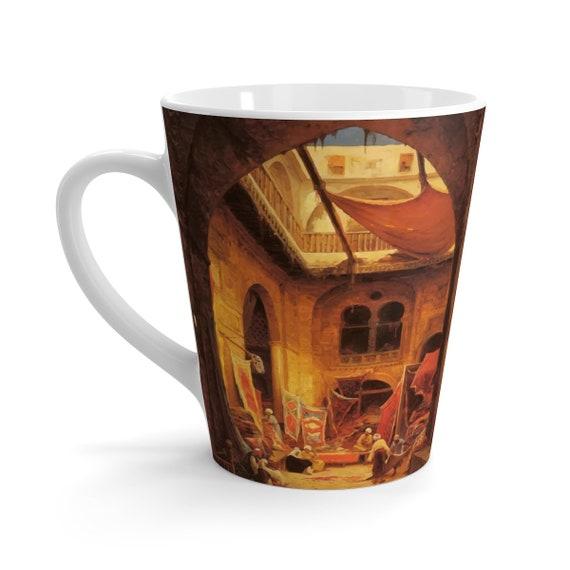 The Carpet Merchant, White 12oz Ceramic Latte Mug, Vintage Painting, Hermann Corrodi, 1905