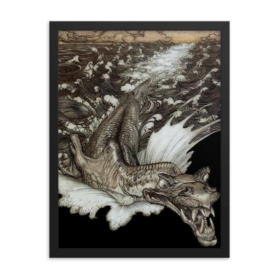 "Leviathan, 18"" x 24"" Framed Poster, Black Wood Frame, Acrylic Covering, Arthur Rackham, Sea Dragon, Sea Monster, Room Decor"