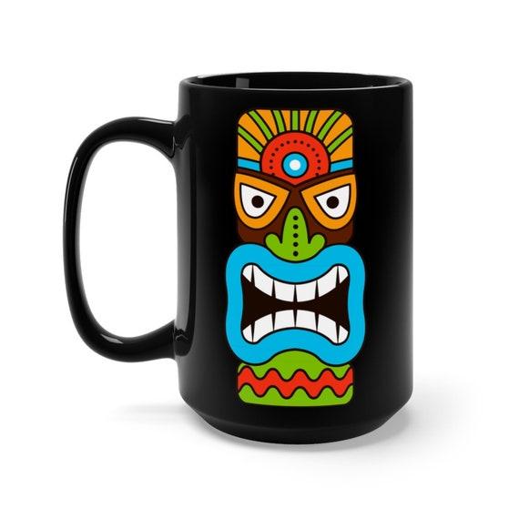 Tiki Mask 15oz Black Ceramic Mug, Retro, Vintage, Polynesia
