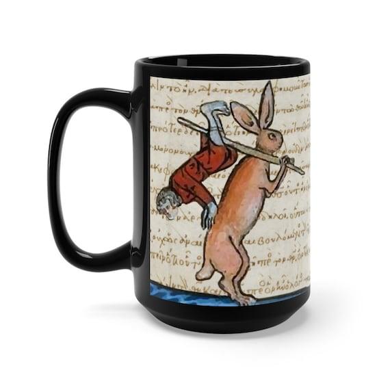 Medieval Hunter Rabbit v2 Black 15oz Ceramic Mug, From Medieval Manuscript, Marginalia, Coffee, Tea
