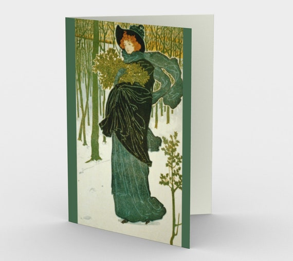 The Green Lady - Stationery Cards (3), With An Image From An Antique Vintage Illustration, Circa 1895.