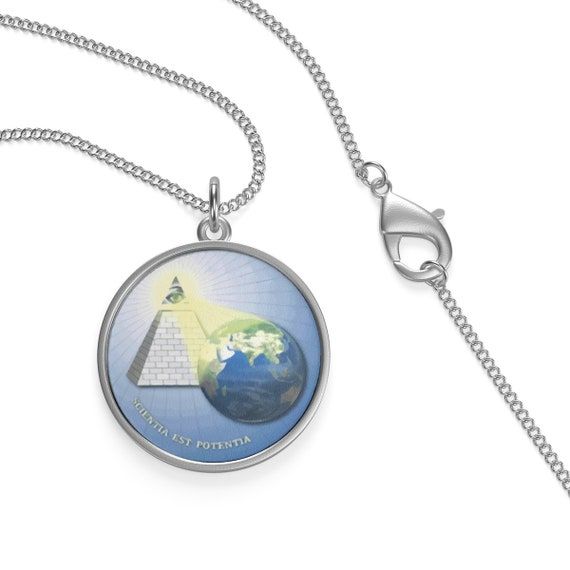 Knowledge Is Power, Sterling Silver Chain Necklace, Eye Of Providence, Illuminati, DARPA