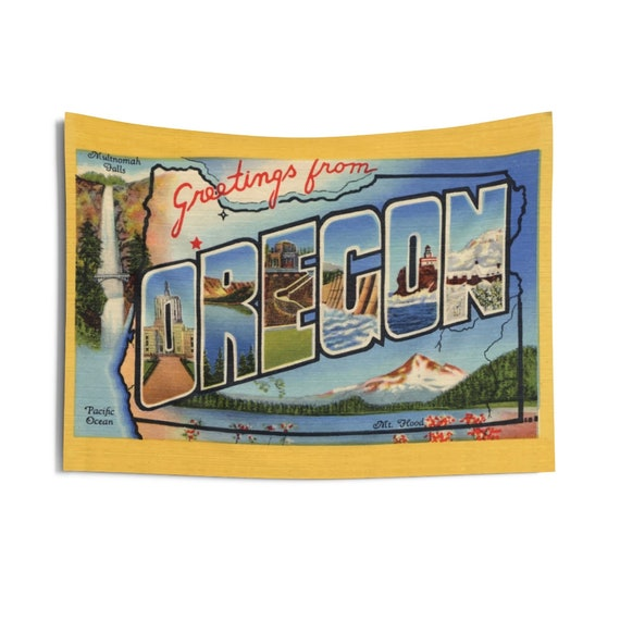 "Greetings From Oregon, 36""x26"" Indoor Wall Tapestry, Vintage Postcard From 1938, Wall Decor, Room Decor"