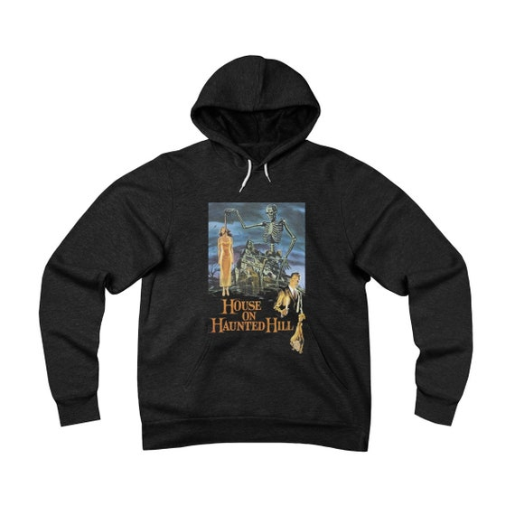 House On Haunted Hill, Black Unisex Sponge Fleece Pullover Hoodie, 1959 Campy Horror Movie Poster