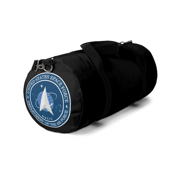 Space Force Insignia Logo, Black Duffel Bag, From Official USSF Seal, Military