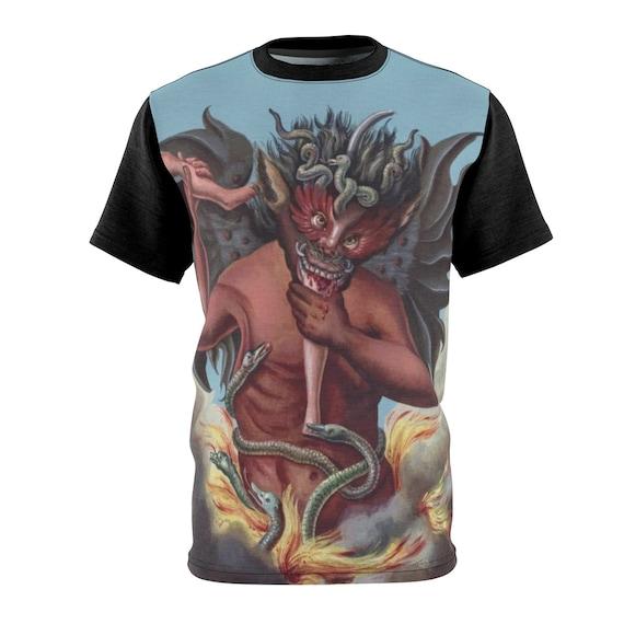 Devil Devours A Sinner, Unisex T-shirt, Vintage Illustration, Compendium Rarissimum, Christian Religion, AOP