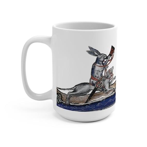 Medieval Rabbit Riding A War Dog White 15oz Ceramic Mug, From Medieval Manuscript, Marginalia, Coffee, Tea